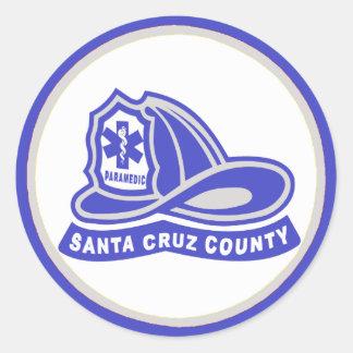 ヘルメットのSanta Cruz郡の救急医療隊員 丸形シールステッカー