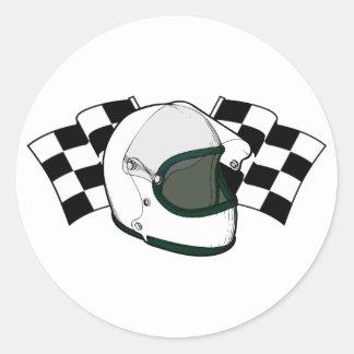 ヘルメット及び旗 丸形シールステッカー