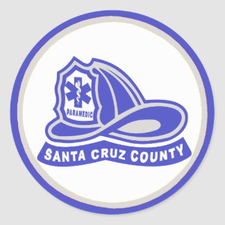 ヘルメット|サンタ|Cruz|郡|救急医療隊員 丸形シール・ステッカー