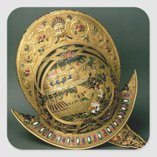 ヘルメット|チャールズ|IX|(1550-74年)|第16|世紀|(金ゴールド 正方形シールステッカー