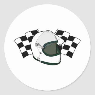 ヘルメット|及び|旗 丸形シールステッカー