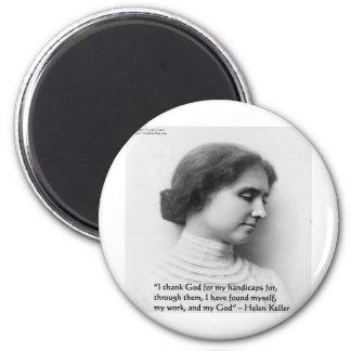 """ヘレン・ケラーの""""神""""の知恵の引用文のギフト感謝していしています マグネット"""
