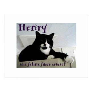 ヘンリーネコ科繊維の芸術家の郵便はがき ポストカード