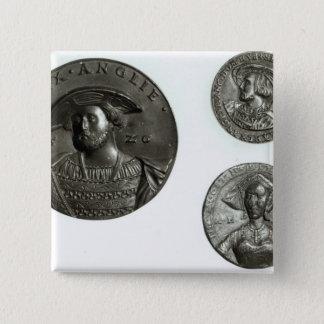 ヘンリー八世およびアン・ブーリンを描写する硬貨 5.1CM 正方形バッジ