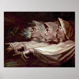 ヘンリーFuseli著3人の魔法使い ポスター