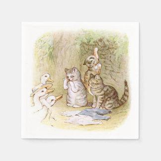 ベアトリックスの陶工、子ネコ、アヒル、カスタム スタンダードカクテルナプキン