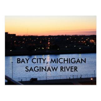 ベイ・シティのミシガン州SAGINAWの川の郵便はがき ポストカード