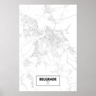 ベオグラード、セルビア(白の黒) ポスター