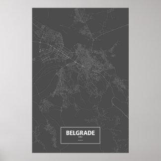 ベオグラード、セルビア(黒で白い) ポスター