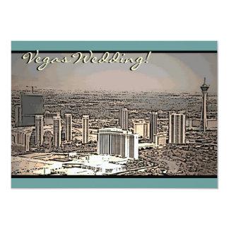 ベガスの結婚式のヴィンテージ都市場面招待状 カード