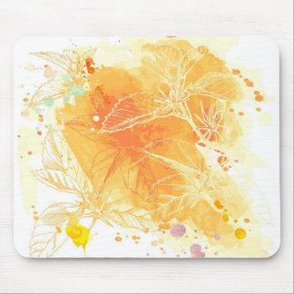 ベクトル水彩画の背景及び熱帯花 マウスパッド