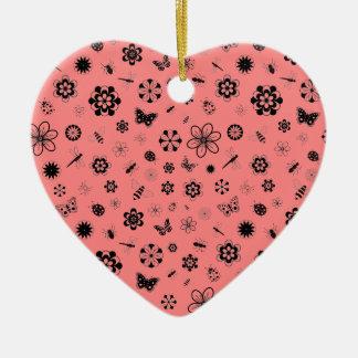 ベクトル虫及び花(ケシの赤い背景) 陶器製ハート型オーナメント