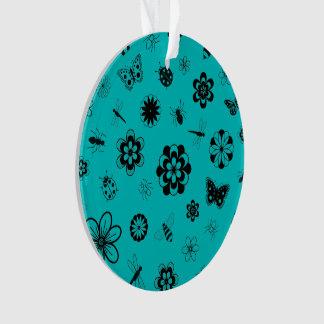 ベクトル虫及び花(ティール(緑がかった色)の背景) オーナメント