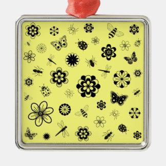 ベクトル虫及び花(レモン色の版B) メタルオーナメント