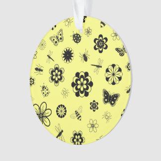 ベクトル虫及び花(レモン色の背景) オーナメント