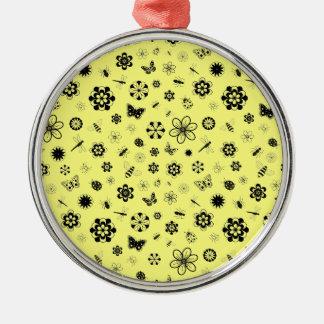 ベクトル虫及び花(レモン色の背景) メタルオーナメント