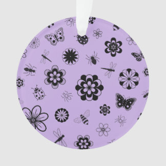 ベクトル虫及び花(薄紫の紫色の背景) オーナメント