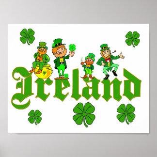 ベクトル-小妖精のクローバーアイルランド ポスター