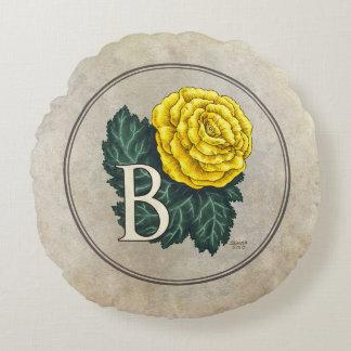 """""""ベゴニアのためのB""""の花のモノグラム ラウンドクッション"""