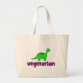 ベジタリアン-恐竜のデザイン ラージトートバッグ