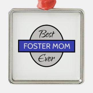 ベストの養育関係のお母さん- シルバーカラー正方形オーナメント