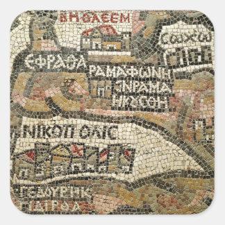 ベスレヘムのエリコの地図からの詳細 正方形シールステッカー