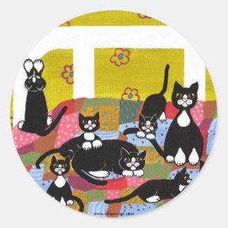 ベッドのおもしろいのステッカーの猫 ラウンドシール