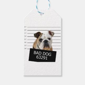 ベッド犬-ブルドッグ ギフトタグ