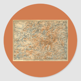 ベデカーの旅行ガイドからの1909年のAdirondacksの地図 ラウンドシール