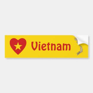 ベトナムの旗のハート + 地図のバンパーステッカー バンパーステッカー