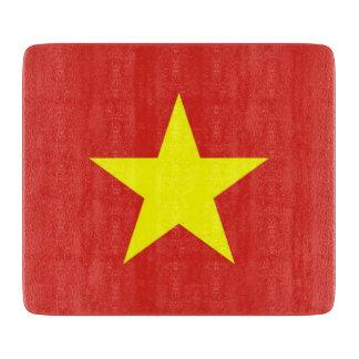 ベトナムの旗を持つ小さいガラスまな板 カッティングボード