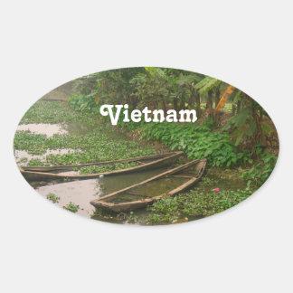 ベトナムの水路 楕円形シール
