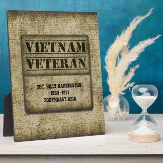 ベトナムの獣医の感謝の記念する名前入り フォトプラーク