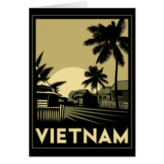 ベトナム東南アジアのアール・デコのレトロ旅行 グリーティングカード
