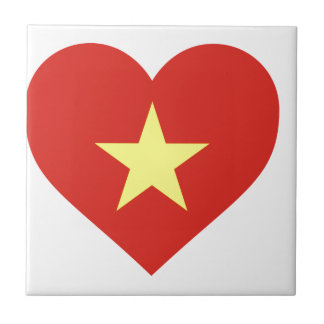 ベトナム- Iの愛ベトナム- Cờのđỏサンvàngの旗 正方形タイル小
