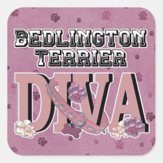 ベドリントン・テリアの花型女性歌手 スクエアシール