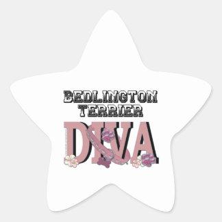 ベドリントン・テリアの花型女性歌手 星シール