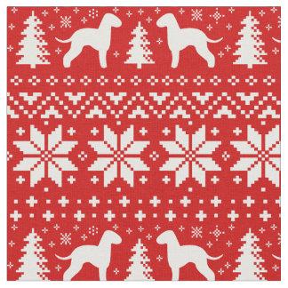 ベドリントン・テリアはクリスマスパターンのシルエットを描きます ファブリック