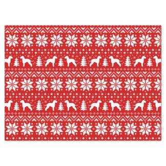 ベドリントン・テリアはクリスマスパターンのシルエットを描きます 薄葉紙
