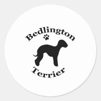 ベドリントン・テリア犬のシルエットのステッカー、ギフト ラウンドシール