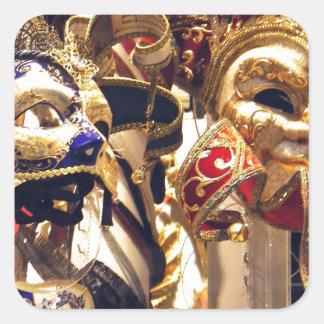 ベニスからのカーニバルのマスク スクエアシール