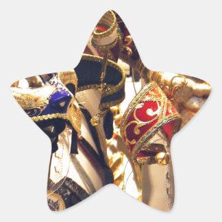 ベニスからのカーニバルのマスク 星シール