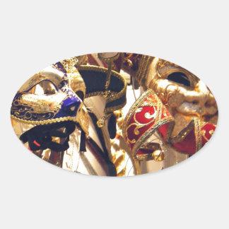 ベニスからのカーニバルのマスク 楕円形シール