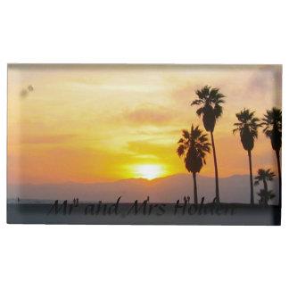 ベニスのビーチカリフォルニア日没の記念品 テーブルカードホルダー