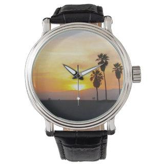 ベニスのビーチカリフォルニア日没の記念品 腕時計