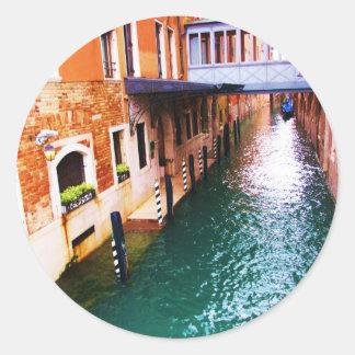 ベニスの写真-運河の写真 ラウンドシール