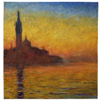 ベニスの印象派の絵画のMonetの日没 ナプキンクロス