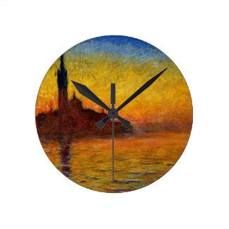 ベニスの印象派の絵画のMonetの日没 ラウンド壁時計