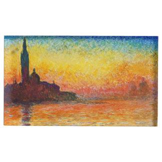 ベニスの印象派の芸術のクロード・モネの日没 テーブルカードホルダー
