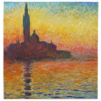 ベニスの印象派の芸術のクロード・モネの日没 ナプキンクロス